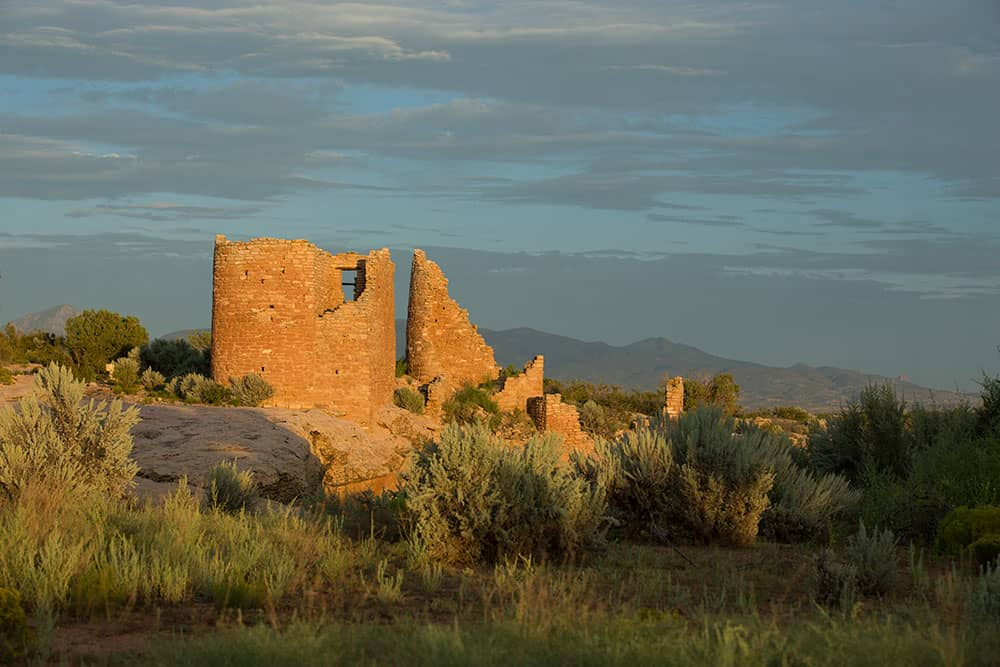 View of Hovenweep National Monument in golden hour