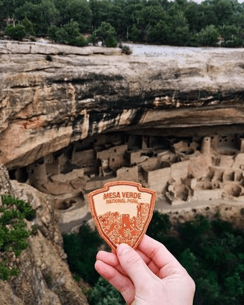 Mesa Verde National patch with cave dwellings, from hiking trails in Colorado