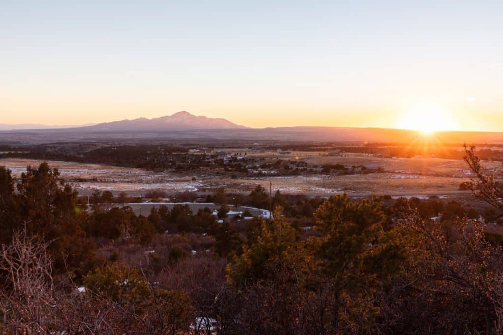 Mesa Verde Country, Colorado, mountain view at sunset